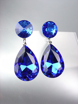GLITZY SHIMMER Sapphire Blue Swarovski Crystals Bridal Queen Pageant Ear... - £19.85 GBP