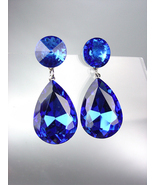 GLITZY SHIMMER Sapphire Blue Swarovski Crystals Bridal Queen Pageant Ear... - £19.51 GBP