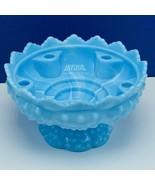 Fenton art glass vintage candle flower holder candleholder milk blue hob... - $91.76