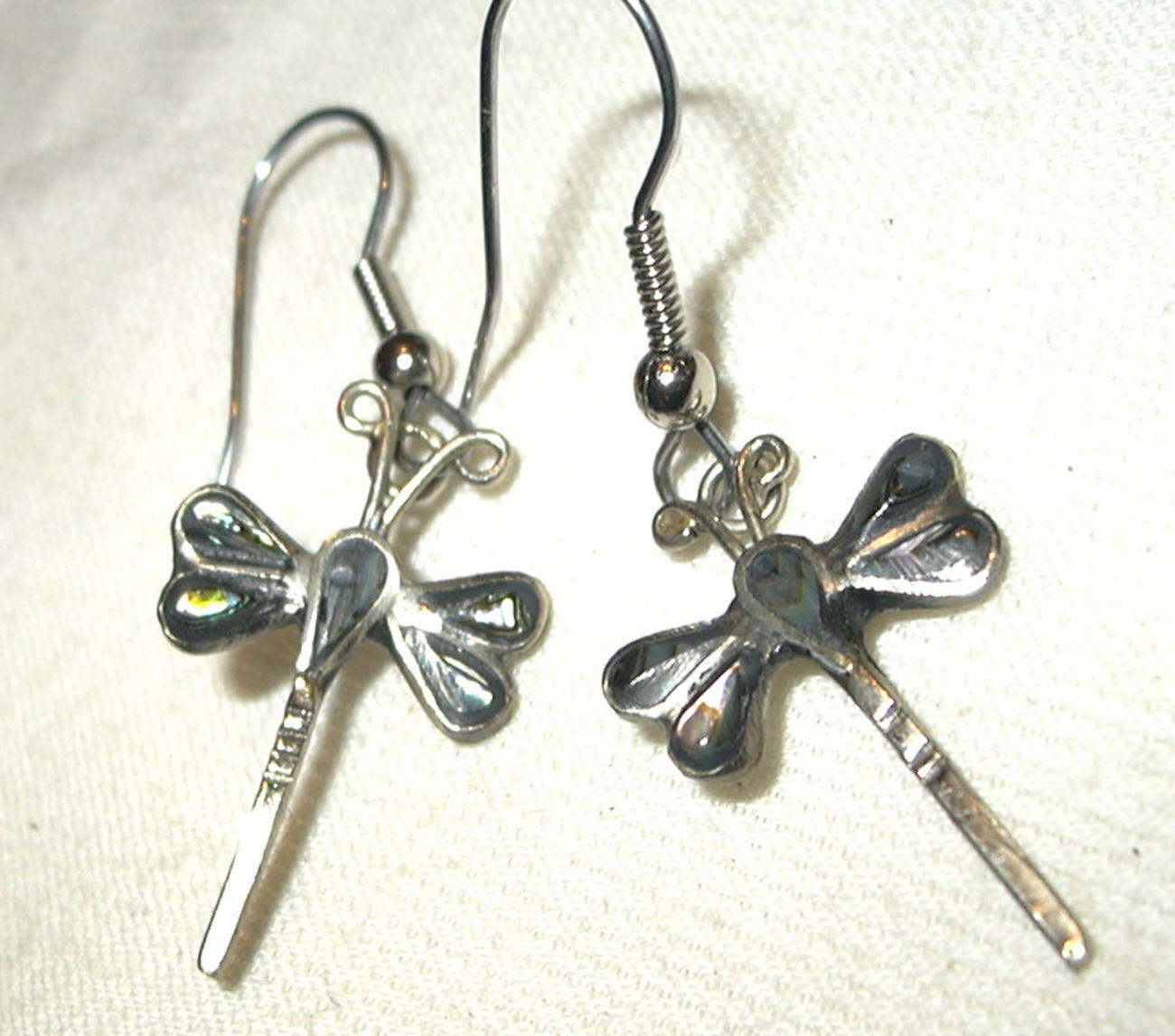 j108 Dragonfly Abalone Shell inlay Earrings Pierced Drop Dangly