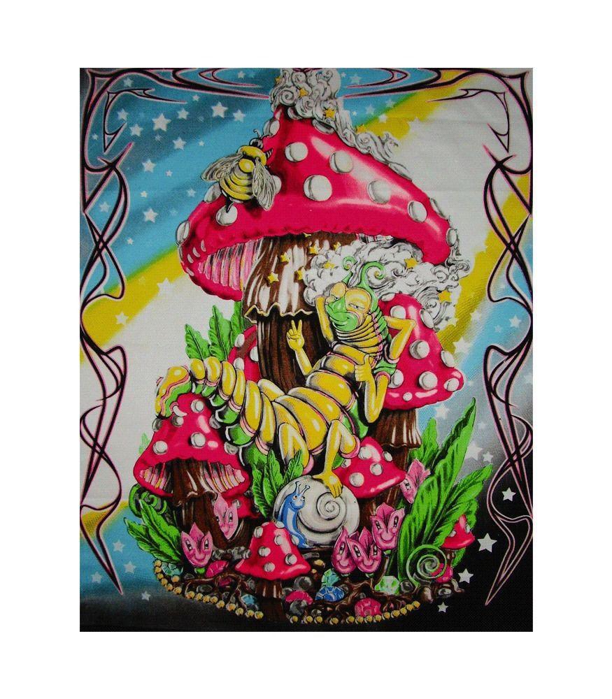 Mushroom Caterpillar Blacklight Tapestry Cloth Wall Hanging