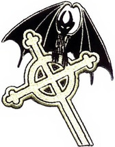 Celtic Cross Iron-On Patch Gothic Bat New - $8.69