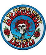 Grateful Dead Iron-On Patch Round Bertha Rose Logo New - $8.69