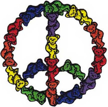 Grateful Dead Iron-On Patch Bear Peace Sign New - $9.86