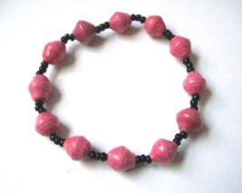 Stretch Bracelet Recycled Paper Beads Uganda Hot Pink & Black - $5.38
