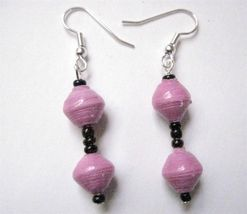 "Pink Mauve 2 Bead Drop  Earrings Recycled Paper Beads Uganda 1 1/2"" Silver  Wire - $5.77"