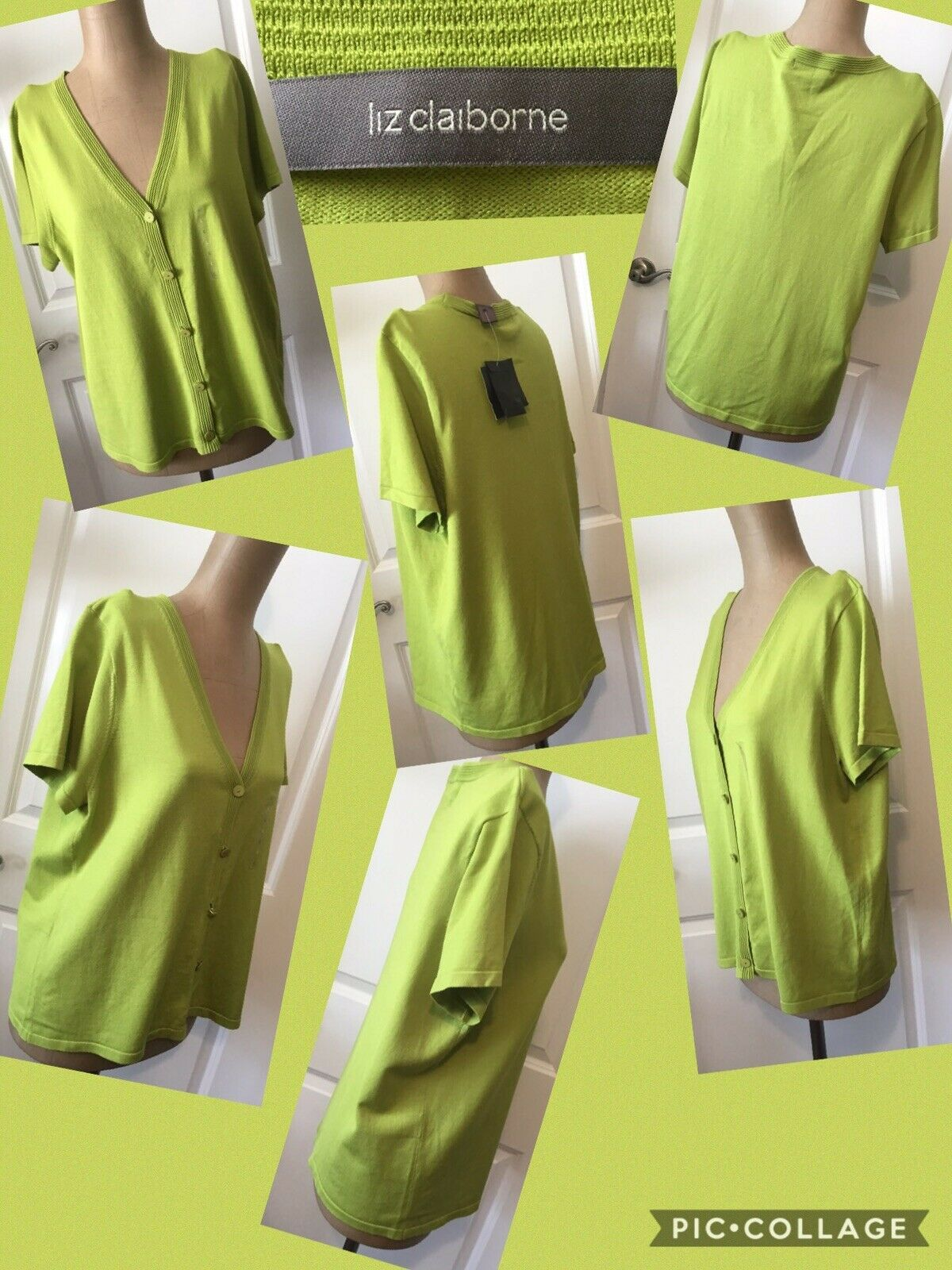 Primary image for NEW! Liz Claiborne Short Sleeve Sweater Sz Large Lime Green Retail $59 New W/Tag