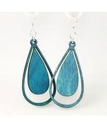 Green Tree Jewelry Water Droplet Earrings Aqua Marine Wood Wooden Laser ... - $9.99