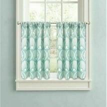"""Better Homes & Gardens Aqua Venus Shells Kitchen Curtain Tier Set Lined EUC 24""""L - $11.85"""