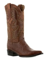 Mens Cognac Brown Lizard Design Western Cowboy Leather Boots Armadillo - £75.40 GBP