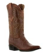 Mens Cognac Brown Lizard Design Western Cowboy Leather Boots Armadillo - £81.02 GBP
