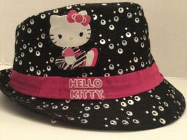 Sanrio Hello Kitty Black Pink Sequined Fedora Hat Girls Junior Teen New W/O Tags - $19.95