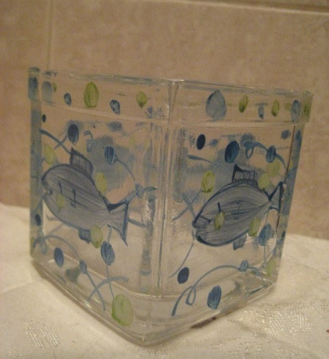 Hand painted glass votive candle Holder - Fish Motif