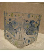 Hand painted glass votive candle Holder - Fish Motif - $2.99
