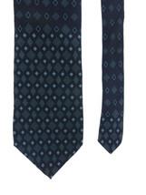 Structure Mens Neck Tie Black With Blue Geometric Diamonds 100% Silk  - $19.79