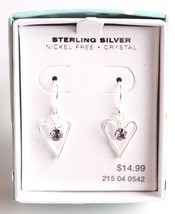 Girls Sterling Silver 925 Dangle Drop Clear Crystal Hearts Earrings New in Box image 1