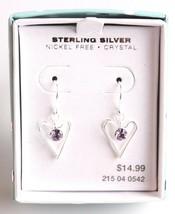 Girls Sterling Silver 925 Dangle Drop Clear Crystal Hearts Earrings New in Box