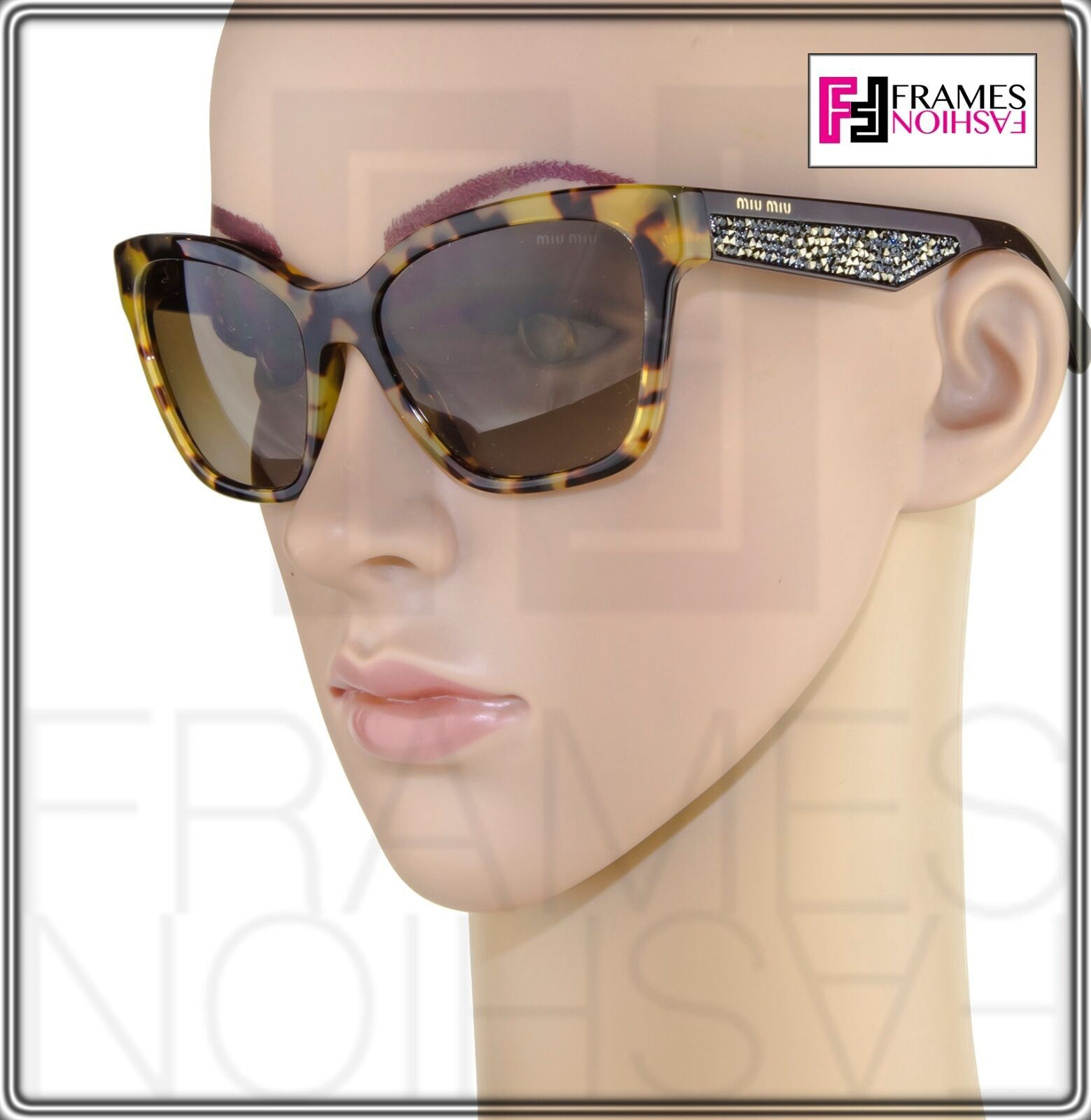 MIU MIU PAVE EVOLUTION MU 06R Square Brown Havana Silver Rock Sunglasses MU06RS