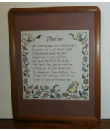 "Mother Poem Cross Stitch Finished Matted & Framed 19.5"" x 15.5"" - $19.34"