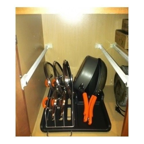 Pots And Pans Storage Ideas To Take Note Of: Pan Organizer Rack Pot Kitchen Storage Holder Cookware