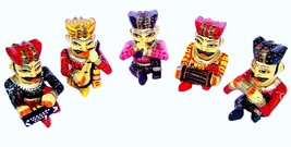 wooden idol decorative Hand painted musician set showpiece folk Figurines - $208.49
