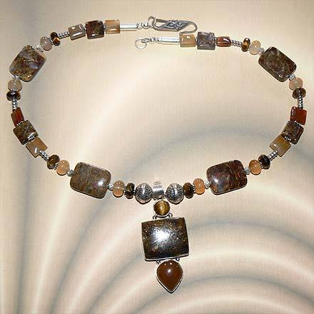 Sterling Silver Pietersite, Carnelian and Tiger Eye Necklace