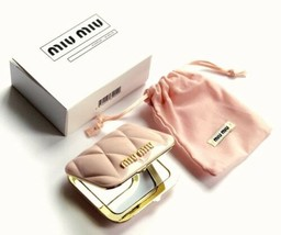 Miu Miu Parfums Beaute Gift Pink Makeup Compact Mirror with Pouch & Orig... - $69.29