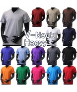 Mens V NECK T Shirts HEAVY Short Sleeve Sports Blank 5XL Solid Color Cot... - $8.54+