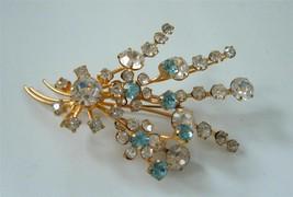 Vintage Austria Clear Ice Blue Crystal Brooch Pin Spray Gold Layered Daz... - $22.72