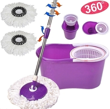 Easy Magic Floor Mop 360° Bucket 2 Heads Microfiber Spin Spinning Rotati... - $9.79