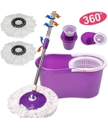 Easy Magic Floor Mop 360° Bucket 2 Heads Microfiber Spin Spinning Rotati... - $19.79
