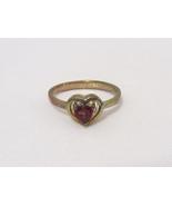 Vintage Sterling Silver Garnet Heart Ring Size 8.75 - $18.00