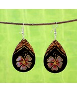 "1.75"" Exotic Earrings Jewelry Hand Carved Painted Sono Wood 1 pair EW1 - $11.75"