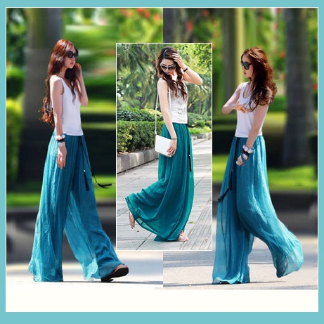 Long Sheer Chiffon Bohemian Gauze Pleated Harem Coulott Pants in Many Colors