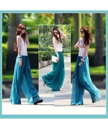 Long Sheer Chiffon Bohemian Gauze Pleated Harem Coulott Pants in Many Co... - $52.95