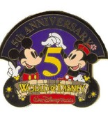 Disney Mickey & Minnie Mouse World of Disney Fifth Anniversary LE 1500 pin - $9.79