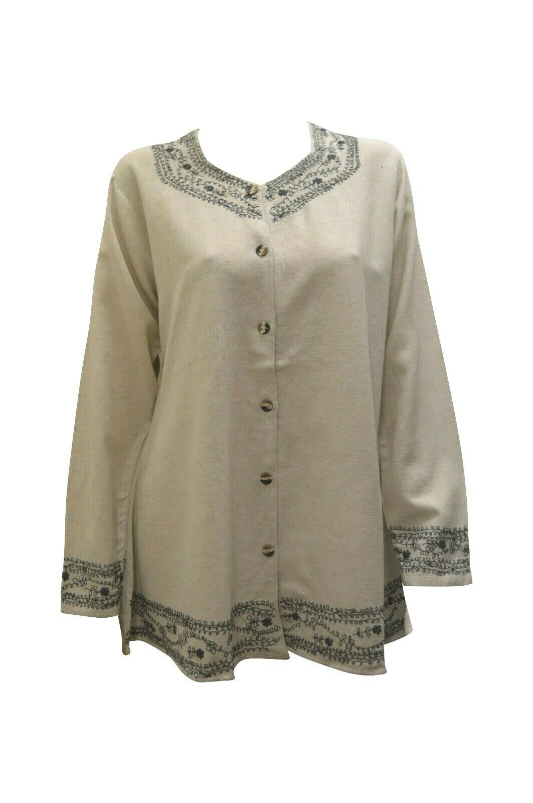 Primary image for WOMENS TOP BOHO HIPPIE LINEN STYLE COTTON BUTTON UP LONG SLEEVE BLOUSE SHIRT 12