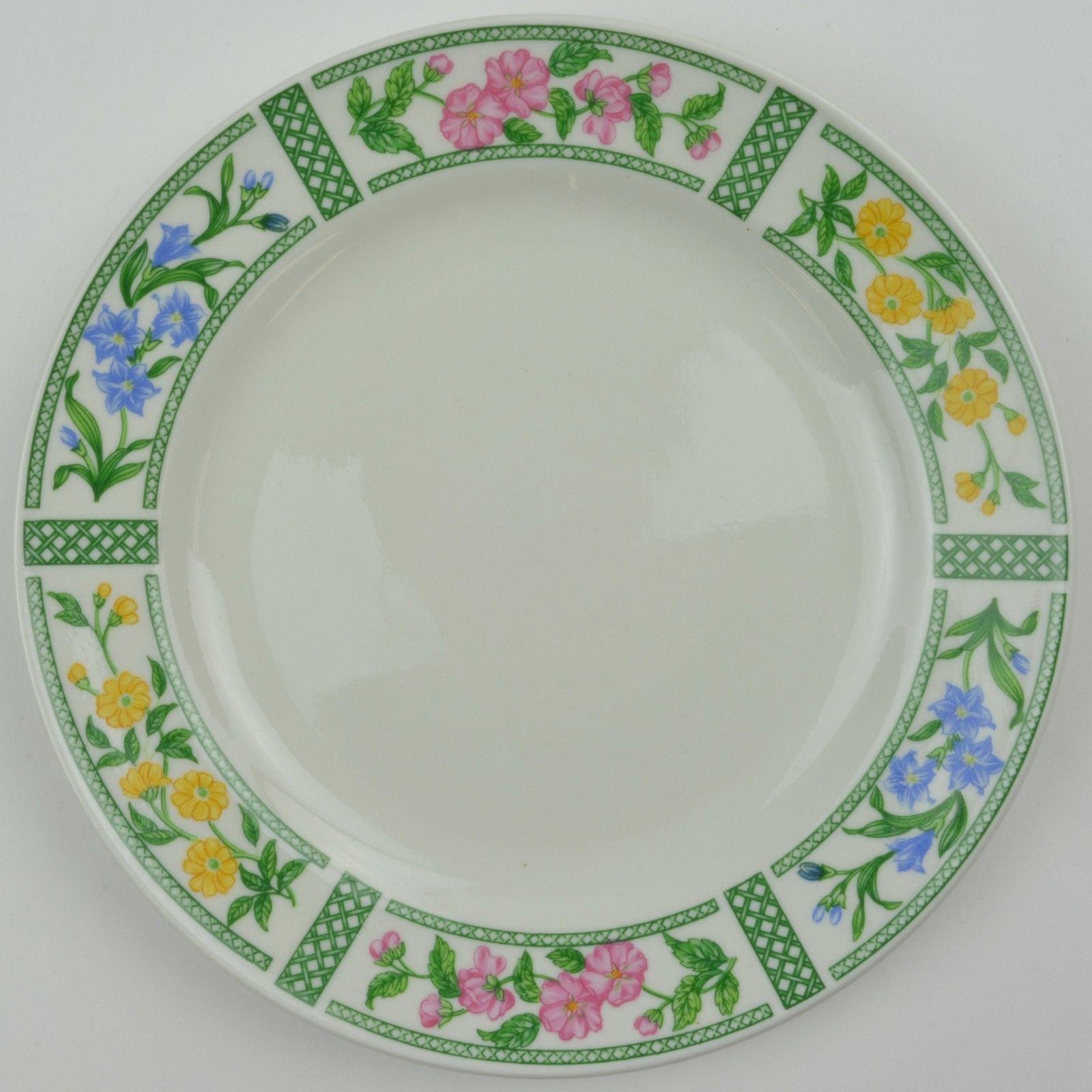 Farberware Botanica 3059 Salad Plate Stoneware China Floral Flower Lattice Green - $8.99