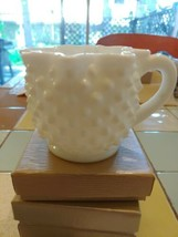 White Milk Glass HOBNAIL   Punch Cup Ribbon Edge - $14.00