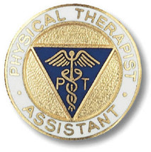 Physical Therapist Assistant Pin Caduceus Gold Plate Medical Insignia Em... - $13.69