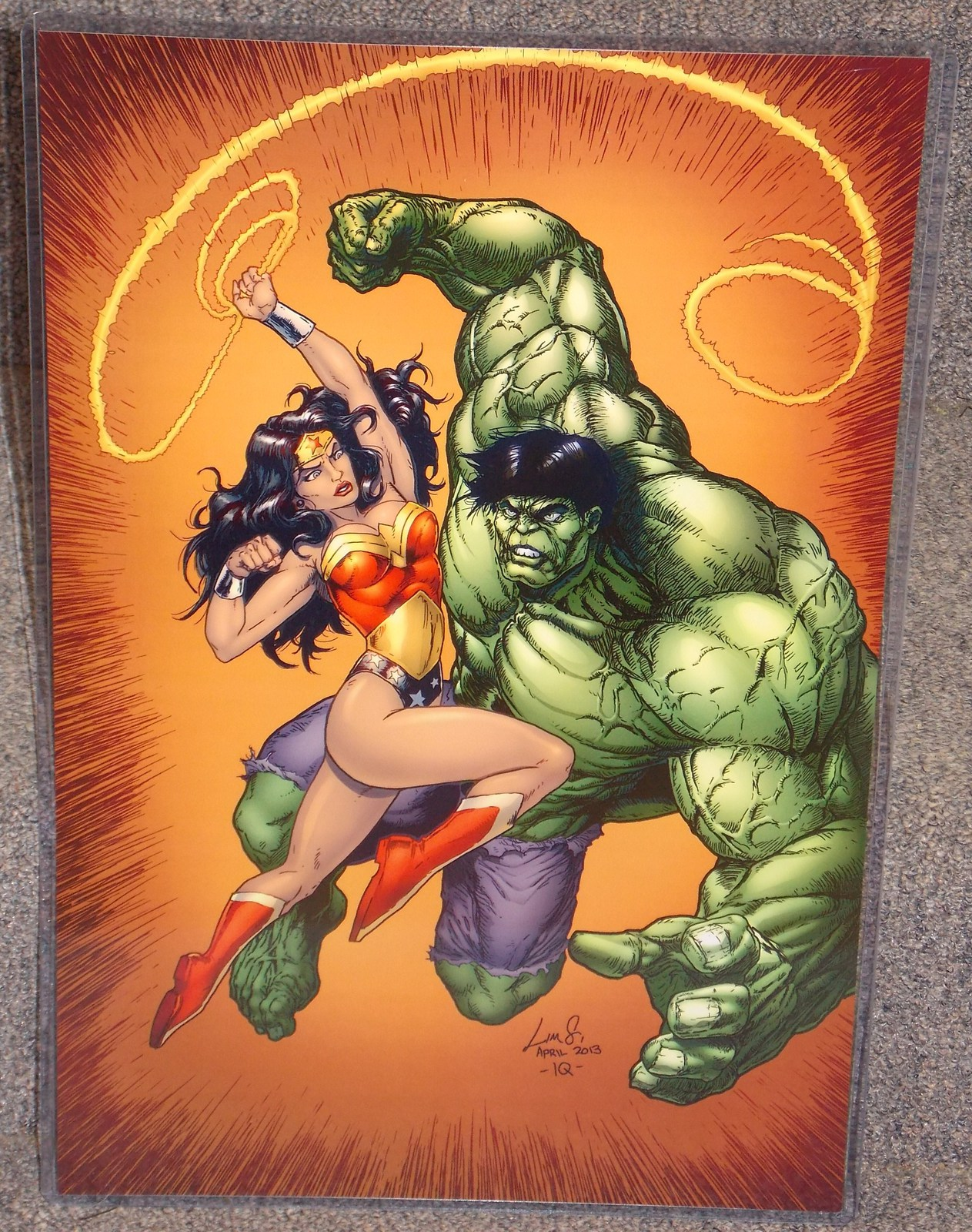Primary image for DC Wonder Woman vs Marvel Incredible Hulk Glossy Print In Hard Plastic Sleeve
