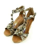 Libby Edelman Bani 6 Black Brown Snake Jeweled Cork Wedge Sandals Ankle ... - $14.89