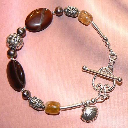 Sterling Silver Red Tiger Eye, FW Pearl and Citrine Bracelet
