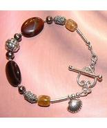 Sterling Silver Red Tiger Eye, FW Pearl and Citrine Bracelet - $45.00