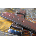 22mm rustic leather watch strap hand made straps antique brown color wat... - $19.59