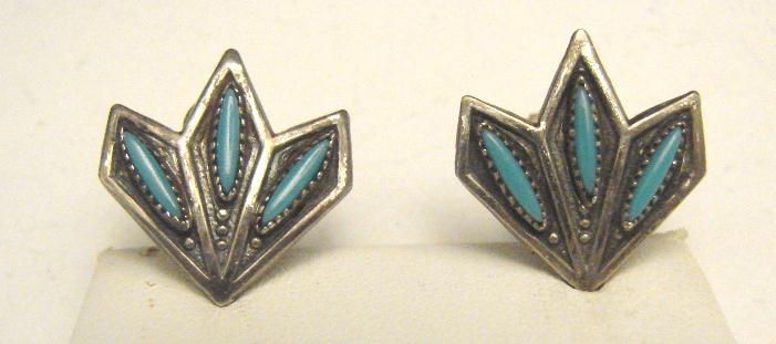 TURQUOISE & STERLING EARRINGS - ZUNI SIGNED