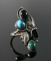Vintage .925 Sterling Silver Signed RICHARD BEGAY Turquoise Size 7.5 Rin... - $22.49