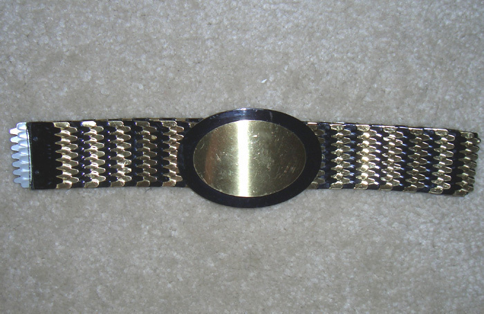 Belt Wide Metalic black gold Elastic