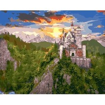 Paint By Number Kit Forest Mountains Castle Buildings DIY Picture 40x50c... - $11.15