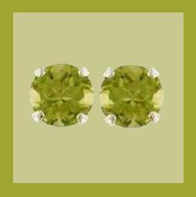 Genuine PERIDOT Gemstone Stud Sterling Silver Post Earrings